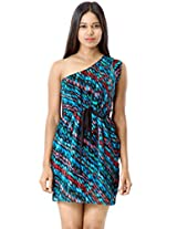 Roving Mode Women's Abstract Print One Shoulder Dress, Multi-Color, Large