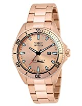 Invicta Men's Quartz Watch with Rose Gold Dial Analogue Display and Rose Gold Stainless Steel Plated Bracelet 21561