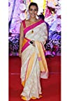 V And V Shop Kajol White Designer Saree At Sva At Durga Puja Pandal - BWR 1338