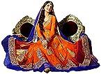 Orange Colored Net Semi-Stitched Anarkali Salwar Kameez
