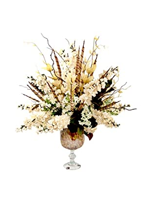 Creative Displays Cream Floral in Colored Glass Vase, 27x32x27