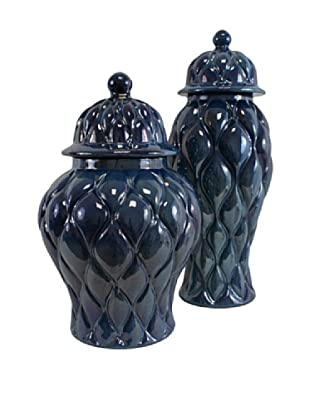 Set of 2 Saphire Jars, Dark Blue