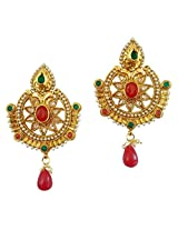 Lalso South Indian Ruby Green AD Zircon Pearl Bridal Earrings For Wedding, Diwali, Festival, Navratri, Party, Gift - LAE46_MG