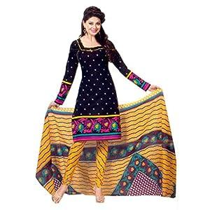 SGC- Black cotton unstitched churidar kameez with dupatta - SH-11528
