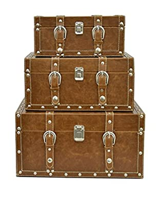 Three Hands Set of 3 Leather Boxes, Brown