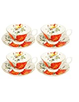 Gracie Bone China by Coastline Imports English Tea Cup and Saucer, Red Iceberg, 8-Ounce, Set of 4