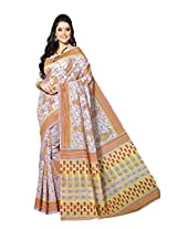 Printd Multi colour border work cotton saree with blouse piece