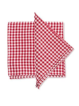 Set of 4 Becca Gingham Napkins, Red/White