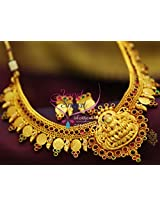 Yellow Gold South Indian Traditional Trendy Temple Kempu Jewellery Necklace Online