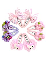 Wrapables Bows and Flowers 8 Piece Assorted Hair Clips for Toddler Girl, Lilac & Pink