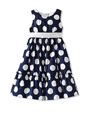 Pippa & Julie Girl's Big Dot Cotton Dress with Sash (Navy/White)
