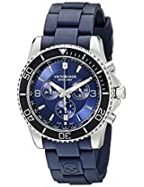 Victorinox Men's 241690 Maverick Chronograph Stainless Steel Watch with Blue Rubber Band