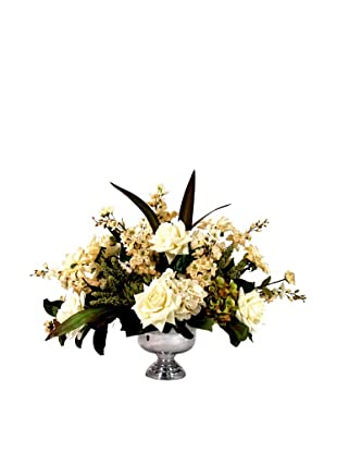 Creative Displays Cream Floral in Silver Vase (Cream/Green)