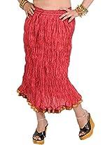 Exotic India Garnet-Rose Elastic Midi Crinkled Skirt with Printed Paisleys - Red