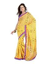 Fabdeal Branded Indian Women Sari Wear Printed Yellow