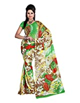 Ambaji Beige & Green Coloured Dani Georgette Printed Saree