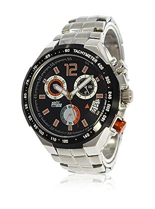 Pit Lane Uhr mit Miyota Uhrwerk Pl-1002-4 silberfarben 45 mm