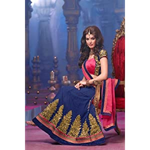 Blue and Pink Faux Georgette,Satin and Velvet Lehenga Choli