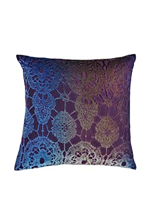 Kevin O'Brien Studio Hand-Painted Devore Velvet Floral Pillow