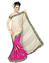 Chinco Embroidered Saree With Blouse Piece (509-A_Pink & Beige)