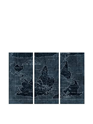 Oliver Gal Upside-Down Map of the World Triptych Canvas Art