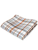 PenSee 100% Silk Woven Geometric Orange & White & Grey Pocket Square