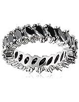 Shaze Ring for Women (Silver) (BLACK STONE RING SLV 10785:7)