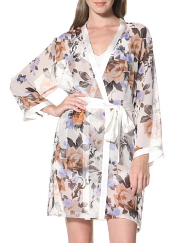 La Fee Verte Women's Silk Kimono (Gypsy Rose Ivory)