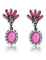 Cinderella Collection by Shining Diva Pink & Black Crystal Hanging Earrings for Women 6951er