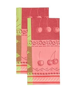 Mierco Fine Linens Set of 2 Cherries Jacquard Tea Towels, Red/Green, 23