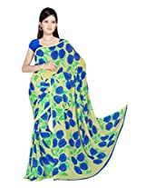 Sonal Trendz Beige & Blue Color Printed Georgette Saree with Blouse