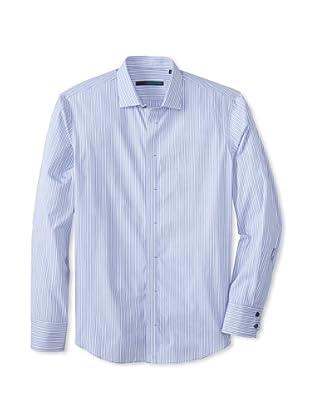 Zachary Prell Men's Cohen Striped Long Sleeve Shirt (Blue)