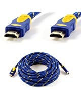 Blue Yellow V1.4 HDMI Male to HDMI Male Connector Shielded Extension Cable 10M
