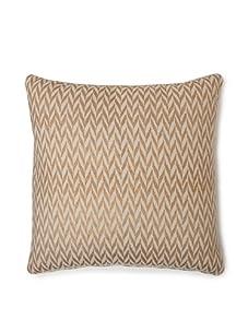 """AKMD 20""""x 20"""" Hand Block-Printed Ikat Throw Pillow (Ikat Gold)"""