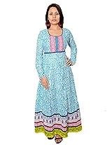 Bela Women Cotton Anarkali Kurta (Ec-06-A-M _Turquoise _Medium)