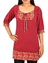 Arclines Women's Regular Fit Tunic (Cc8102161_4Xl, Red, 4Xl)