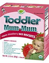 Hot-Kid Toddler Mum-Mum Strawberry Flavor Organic Rice Biscuit, 24-pieces, 60 g (Pack of 6)