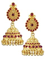 Karatcart 22K Goldplated Red Stone Jhumki Earings Set For Women