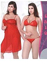 Indiatrendzs Women's Sexy Hot Nighty Venetian Red 3pc Set Honeymoon Eveningwear Freesize