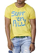 Masculino Latino Casual Yellow T-shirts Round Neck for Men MLT3001A-L
