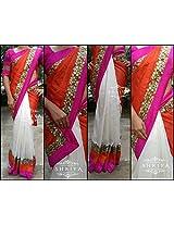 Shriya's Half & Half Saree With White Raw Silk Pleats & Orange Malai Silk Pallu With Antique Gold Cutwork Border & Orange & Pink Patti.