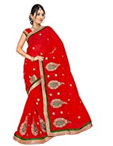 Chinco Embroidered Saree With Blouse Piece (1105-C_Red)