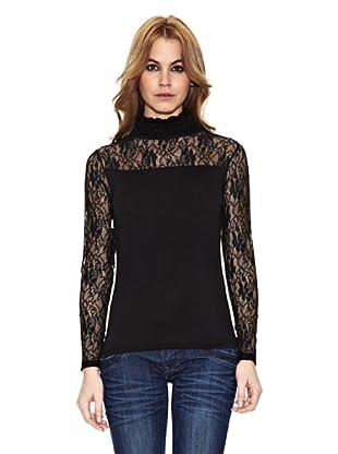 Assuili Camiseta Con Encaje (Negro)