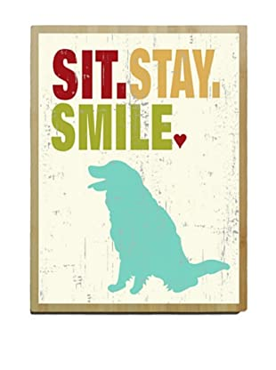 Artehouse Sit Stay Smile Bamboo Wood Sign