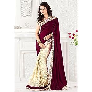 Designer Magenta & Beige Colour Velvet with Net Brasso Embroidery Saree