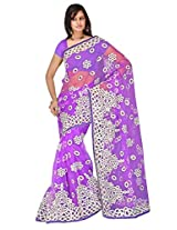 Sehgall Saree Indian Ethnic Professional Net Saree With Foam Embroidery Purple