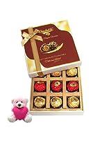 9pc Luxury Wrapped Chocolate Box With Sweet Teddy - Chocholik Luxury Chocolates