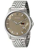 "Gucci Men's YA126310 ""G-Timeless"" Slim Case Brown Dial Signature Gucci Green Red Green Web Design Watch"