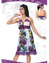 Indiatrendzs Women's Sexy Hot Nighty Hot White/Purple 2pc Set Loungewear