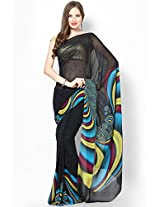 Satya Paul Printed Saree - Black